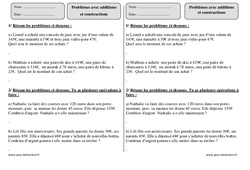 Additions – Soustractions – Ce2 – Problèmes – Exercices corrigés – Mathématiques – Cycle 3