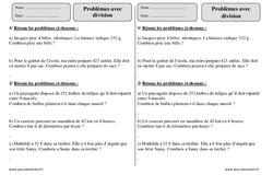 Division – Ce2 – Problèmes – Exercices corrigés – Mathématiques – Cycle 3