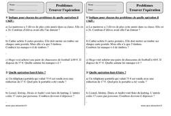 Trouver l'opération – Ce2 – Problèmes – Exercices corrigés – Mathématiques – Cycle 3