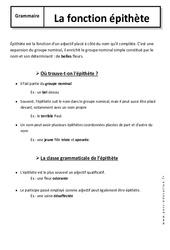 Epithète – 6ème – Cours – Fonctions grammaticales