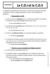C.O.I - C.O.S – 6ème – Cours – Exercices corrigés – Fonctions grammaticales – Grammaire – Collège