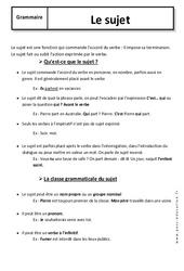 Sujet – 6ème – Cours – Fonctions grammaticales