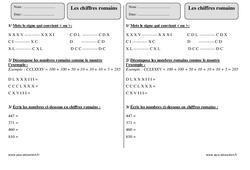 Chiffres romains – Ce2 – Exercices corrigés
