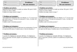 Problèmes liés aux mesures – Ce2 – Exercices corrigés – Mathématiques – Cycle 3