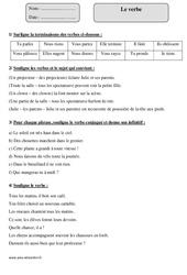 Verbe – Cm1 – Exercices corrigés