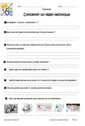 Concevoir un objet technique – 6ème – Evaluation – Bilan