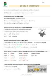 Mots de sens contraire - Cm1 - Leçon