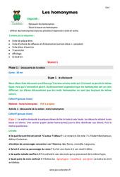 Homonymes – Cm2 – Fiche de préparation