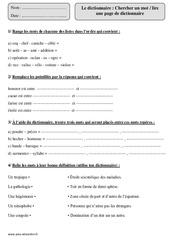 Dictionnaire – Cm1 – Exercices corrigés – Vocabulaire – Cycle 3
