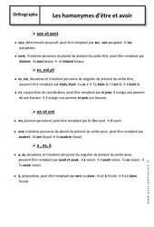 Homonymes - Etre - Avoir – 6ème – Cours