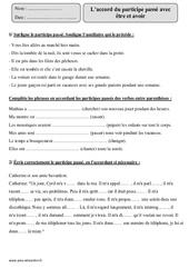 Accord participe passé – Etre – Avoir – Cm1 – Exercices corrigés – Orthographe – Cycle 3