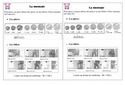 Monnaie – Ce1 - Leçon