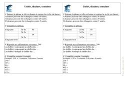 Unités, Dizaines, Centaines - Ce1 - Exercices - Numération - Mathématiques - Cycle 2