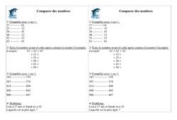 Comparer des nombres – Ce1 – Exercices – Numération – Mathématiques – Cycle 2