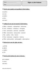 Sigles – Abréviations – Cm1 – Exercices corrigés – Vocabulaire – Cycle 3
