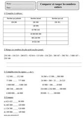 Comparer et ranger les nombres entiers – Cm2 – Exercices corrigés – Numération – Mathématiques – Cycle 3