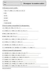 Décomposer les nombres entiers – Cm2 – Exercices corrigés – Numération – Mathématiques – Cycle 3