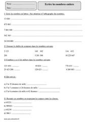 Lire et écrire les nombres entiers – Cm2 – Exercices corrigés – Numération – Mathématiques – Cycle 3