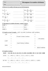 Décomposer les nombres décimaux - Cm2 - Exercices corrigés - Numération - Mathématiques - Cycle 3