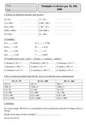 Multiplier ou diviser  par 10, 100, 1000 – Cm2 – Exercices corrigés – Calcul – Mathématiques – Cycle 3