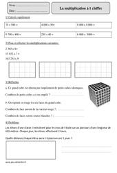 Multiplication à 1 chiffre - Cm2 – Exercices corrigés – Calcul – Mathématiques – Cycle 3