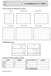 Multiplication à 2 et 3 chiffres - Cm2 – Exercices corrigés – Calcul – Mathématiques – Cycle 3