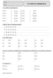 Tables de multiplication - Cm2 – Exercices corrigés – Calcul – Mathématiques – Cycle 3