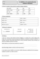 Addition et Soustraction des nombres décimaux – Cm2 – Exercices corrigés – Calcul – Mathématiques – Cycle 3