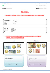 Monnaie – Ce1 – Exercices à imprimer