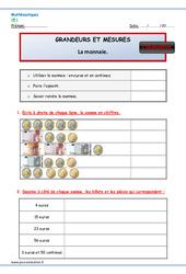 Monnaie – Ce1 – Evaluation – Bilan à imprimer