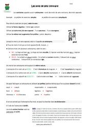 Mots de sens contraire - Cm2 - Leçon à imprimer