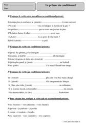Présent du conditionnel – Cm2 – Exercices corrigés – Conjugaison – Français – Cycle 3