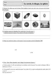 Cercle - Disque - Sphère – Cm2 – Exercices corrigés – Géométrie – Mathématiques – Cycle 3