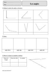 Angles – Cm2 – Exercices corrigés – Géométrie – Mathématiques – Cycle 3