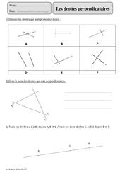 Droites perpendiculaires – Cm2 – Exercices corrigés – Géométrie – Mathématiques – Cycle 3