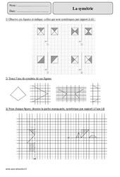 Symétrie – Cm2 – Exercices corrigés – Géométrie – Mathématiques – Cycle 3