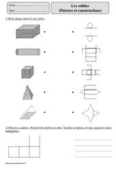 Solides -Patrons - Constructions – Cm2 – Exercices corrigés – Géométrie – Mathématiques – Cycle 3