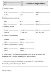 Mesures de temps - Unités – Cm2 – Exercices corrigés – Mesures et Grandeurs – Mathématiques – Cycle 3