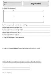 Périmètre – Cm2 – Exercices corrigés – Mesures et Grandeurs – Mathématiques – Cycle 3