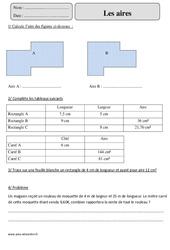 Aires – Cm2 – Exercices corrigés – Mesures et Grandeurs – Mathématiques – Cycle 3