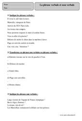 Phrase verbale et non verbale - Cm2 – Exercices corrigés – Grammaire – Français – Cycle 3