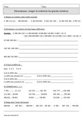 Décomposer, ranger et ordonner les grands nombres – Cm1 – Exercices corrigés – Numération - Mathématiques – Cycle 3