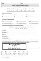 Lire et écrire en chiffres romains – Cm1 – Exercices corrigés – Numération – Mathématiques – Cycle 3