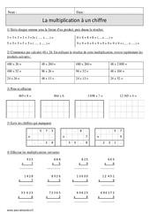 Multiplication à 1 chiffre + sens – Cm1 – Exercices corrigés – Calcul – Mathématiques – Cycle 3