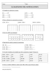 Soustraction des nombres entiers – Cm1 – Exercices corrigés – Calcul – Mathématiques – Cycle 3