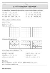 Addition des nombres entiers – Cm1 – Exercices corrigés – Calcul – Mathématiques – Cycle 3