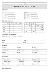 Multiplication par 10, 100, 1000  – Cm1 – Exercices corrigés – Calcul – Mathématiques – Cycle 3