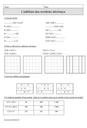 Addition des nombres décimaux – Cm1 – Exercices corrigés – Calcul – Mathématiques – Cycle 3