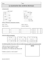 Soustraction des nombres décimaux – Cm1 – Exercices corrigés – Calcul – Mathématiques – Cycle 3