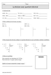 Division avec quotient décimal – Cm1 – Exercices corrigés – Calcul – Mathématiques – Cycle 3